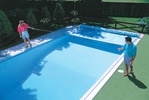 Couple Closing Pool With Cover