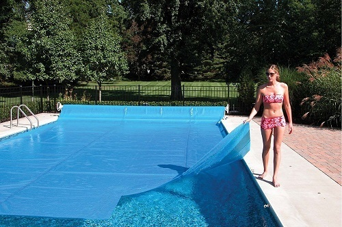 Woman Covering Pool
